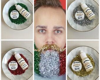 Festive Glitter Beard Kit 4 Christmas Colours Set (Red,Green,Silver,Gold)