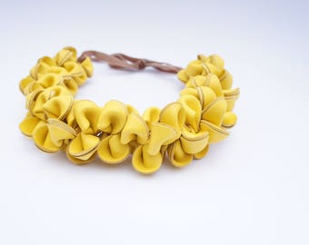 Leather, Yellow Necklace, Leather Necklace, Necklace, Yellow Flower Necklace, Choker