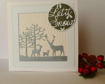 Let It Snow Card, Christmas Card, Handmade Card, Reindeer Card, Christmas Decor