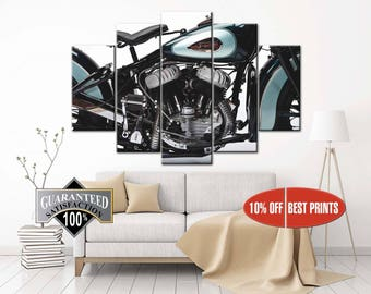 Harley Motorcycle, Harley, harley davidson, legendary motorcycle, biker gift, motorcycle engine, metallic, metallic canvas, art engine