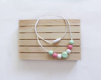 Silicone teething necklace Pink Mint