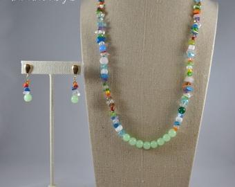 Multicolor jewlery set - Necklace & earrings