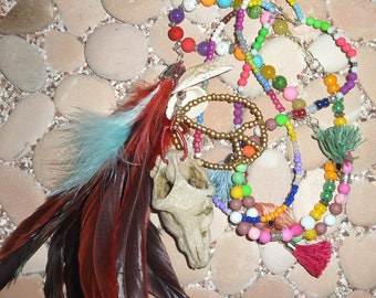 Long y-Necklace hippie BOHO Ibiza skull-coloured-