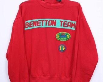 Vintage Benetton Formula 1 Racing Team Sweatshirt Big Logo Spellout Red Colour Medium size