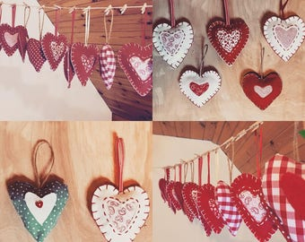 Love heart Decorations set of 5
