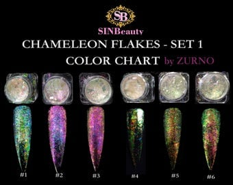 Chameleon Flakes Set #1- 6 Colors (2g each)  / Multi-Chrome Effects, DIY Nail Art- Professional Products