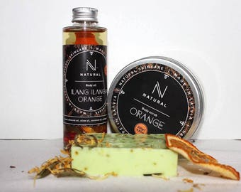 N A T U R A L | Bath gift set with citrus scent | Body scrub | Body oil | Oraganic soap | Christmas gift set | Beauty gift set