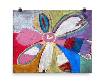 Colorful Abstract Flower - Beautiful Archival Cotton Rag Fine Art Giclée Print Supporting the Nonprofit Fresh Artists