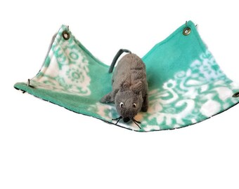 Rat Hammock - Rat Cage Accessories - Black teal Simple Rectangle Snuggle Hammock- Sugar Glider Hammock