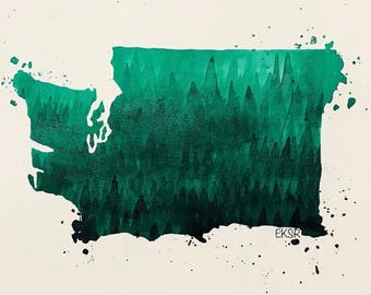 Evergreen Washington art print