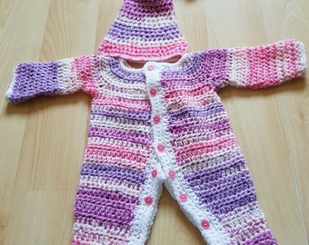 3-6 months baby grow with hat