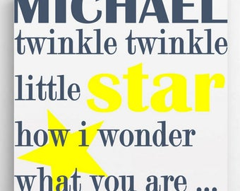 Personalized Kids Canvas Twinkle Sign - Personalized Kids Prints - Boys Wall Prints - Girls Wall Prints - Kids Wall Decor - Kids Gifts