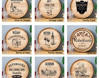 Personalized  Wine Barrel Home Decor Signs - Personalized Signs - Wine Barrel Signs - Wine Signs - Man Cave Signs - Bar Signs - Pub Signs