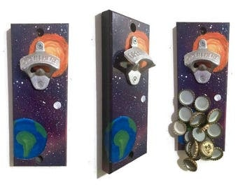 Indoor/Outdoor Magnetic Bottle Opener - Drop Catch Bottle Opener - Wall Mount - Hand Painted - Space Theme - Galaxy - Planets