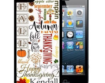Personalized Rubber Case For iPhone X, 8, 8 plus, 7, 7 plus, 6s, 6s plus, 5, 5s, 5c, SE - Fall Thanksgiving Typography