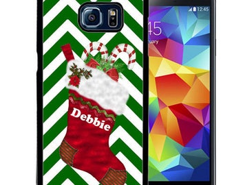 Christmas Personalize Rubber Case For Samsung Note 3, Note 4, Note 5, or Note 8- Stocking Chevron