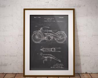 Harley Davidson 1924 Motorcycle Patent, Motor Cycle Patent Print, Harley Patent Art Print, Home Decor, Harley Wall Art,Garage Decor,IAP0029