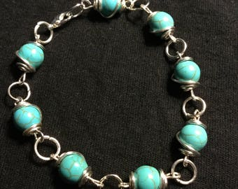 Handmade Silver Turquoise  Bracelet