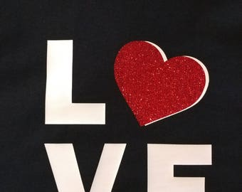 LOVE with Glitter Heart New 100% Cotton T-shirt Tee Gift