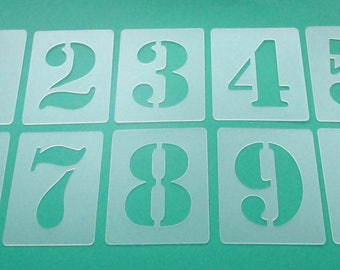 Stencils Pay 3cm High | Number template-Set No. 0530 | 10 Individual stencils 0-9