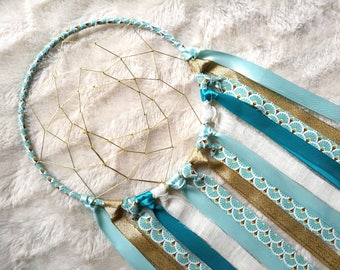 Blue and gold dream catcher