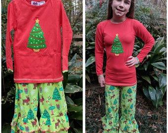 Christmas Tree Ruffle pant set