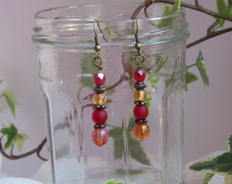 Bohemian earrings red and gold