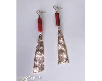 Hand Made: long Tassel Earrings - Red