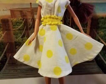 Barbie white and yellow polka dots dress