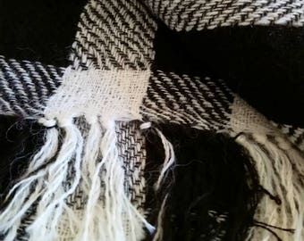 100% Alpaca Hand woven Shawl in black and cream check design.
