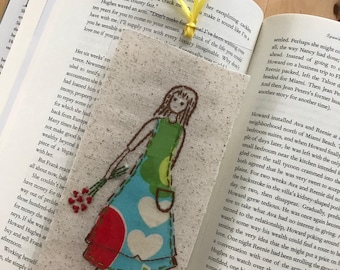 Girl, Embroidered Bookmark , Finished Work , Laminated , Handmade Aplique