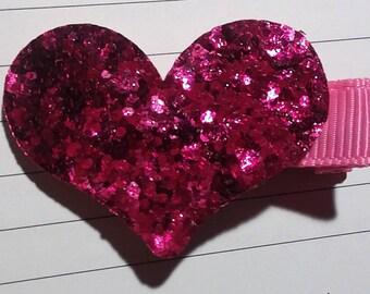 2 Valentine's Heart Gliiter hair clips