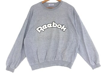 Reebok Sweatshirt Silver colour Big Logo Embroidery Sweat Medium Size Jumper Pullover Jacket Sweater Shirt Vintage 90's