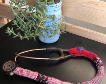 """27"""" stethoscope cover, red/multi color"""