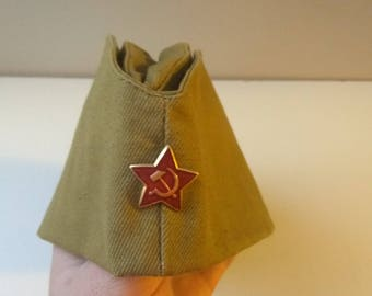 Vintage Soviet Army soldier's forage-cap Military Hat Cap ... soldier's peaked cap / new condition / СССР