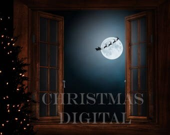 Christmas window digital Background ( for use within photoshop )