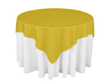 Gold 60 X 60 Square Overlay 100% Woven Polyester Tablecloth For Banquets,  Weddings U0026