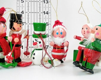 1970's Christmas Ornaments Vintage  Wooden Made in Taiwan  Xmas