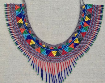Azteca Necklace//Huichol Choker Necklace//Huichol Art//Chaquira//Presents//Gifts for mom//women