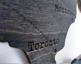 Canada, Wooden Wall Art, Map, laser cut, customizable country, engraved date, personalized gift, home décor, travel souvenir, stained sign