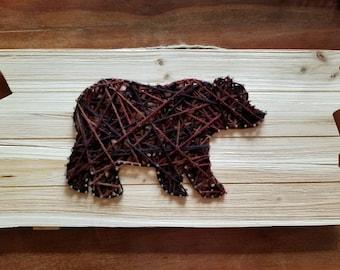 Large Multi Colored Brown Bear String art