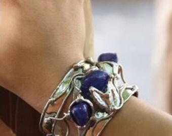 Alpaca Silver Bracelet with Blue Agate