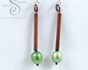 Green Freshwater Pearl & Copper Earrings with Sterling Silver Ear-Wires