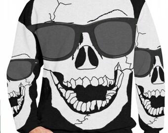Skull Sunglasses All Over Print Fleece Sweatshirt Skull Hoodie, Skull Hoodies, Skull Print, Scalp Hoodie, Gothic, Skeleton, Hooded, Top