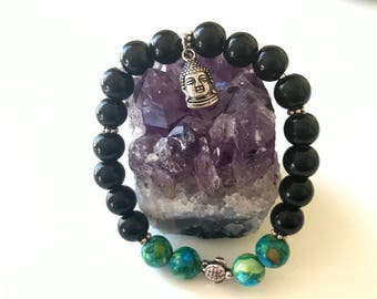 Silver plated Buddah and Turtle w/ black & tourquious ceramic beads