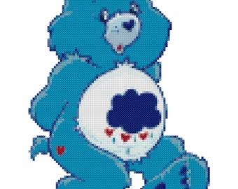 Grumpy Bear Counted Cross Stitch Pattern PDF Download