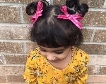 Pink silver bow/hot pink bow/toddler bow/newborn bow/bow headband/bow clip