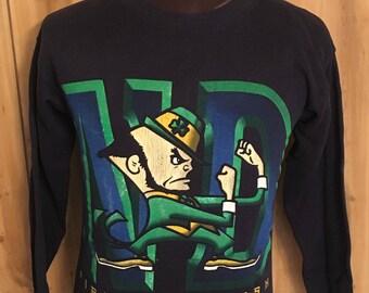 Vintage University of Notre Dame Football Sweatshirt - Fighting Irish - Basketball - Football - Irish - College - Long Sleeve (Medium)