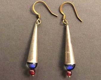 Silver Cone Earrings with Garnet and Cobolt Glass Beads