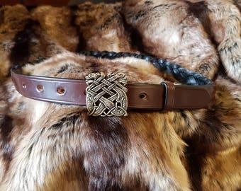 Book of Kells Celtic plaited leather belt